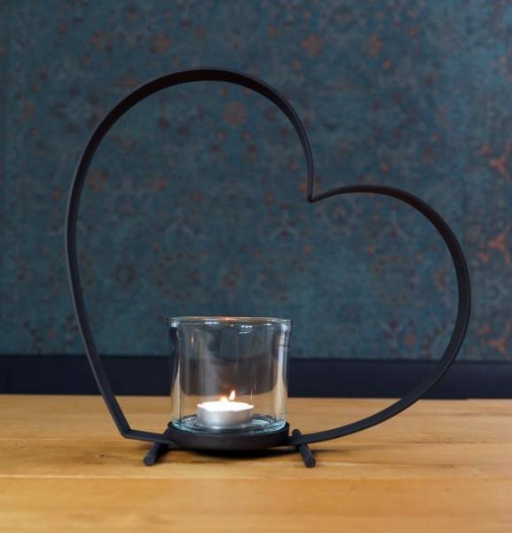 Herzförmiges Eisenwindlicht Bebi 40 cm