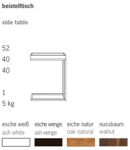 Beistelltisch Pizzo U-Form Tablett Wenge / Gestell Edelstahl Ausstellungsstück