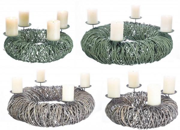 Adventskranz Rattan mit Kerzenhalter