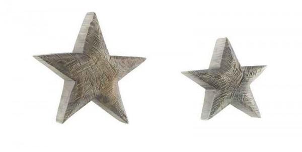 Holz Stern Pappel grau