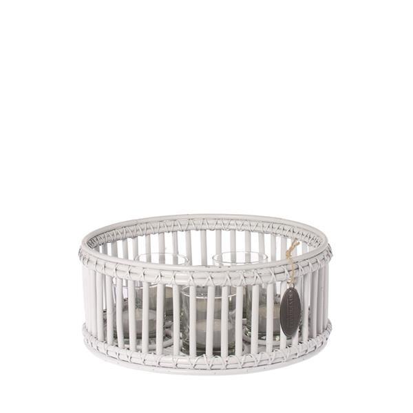 Windlicht Vintage Weiß 35 cm mit 6 Gläsern