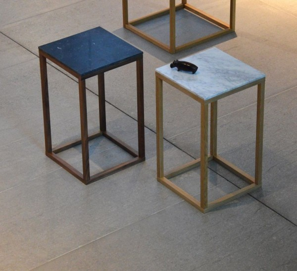 Beistelltisch Pino Marmor Säulenform - Gestell Holz