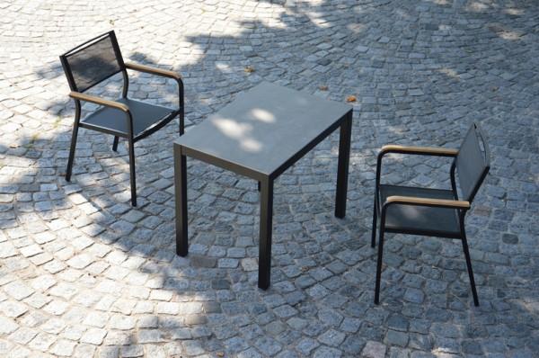 Outdoor Tisch Quadrat Keramik Grau